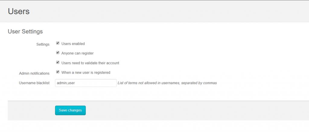 osclass user settings