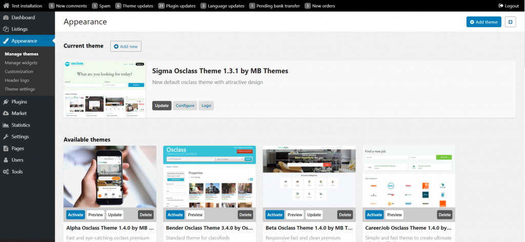 manage themes and templates osclass