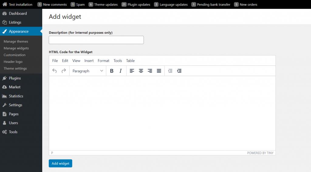 html widget in osclass