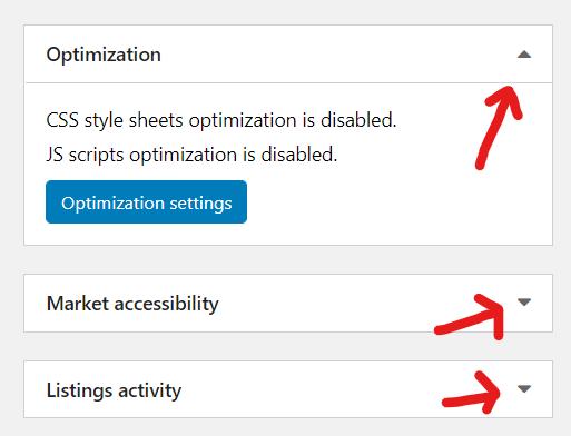 osclass oc-admin widget collapse expand